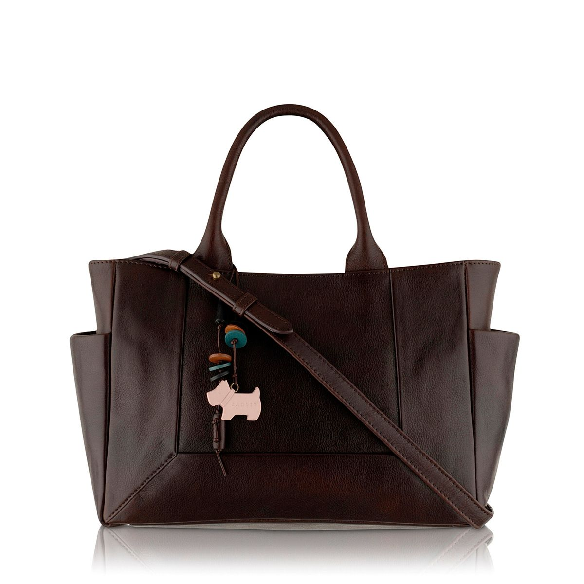 Border medium crossbody brown leather tote bag