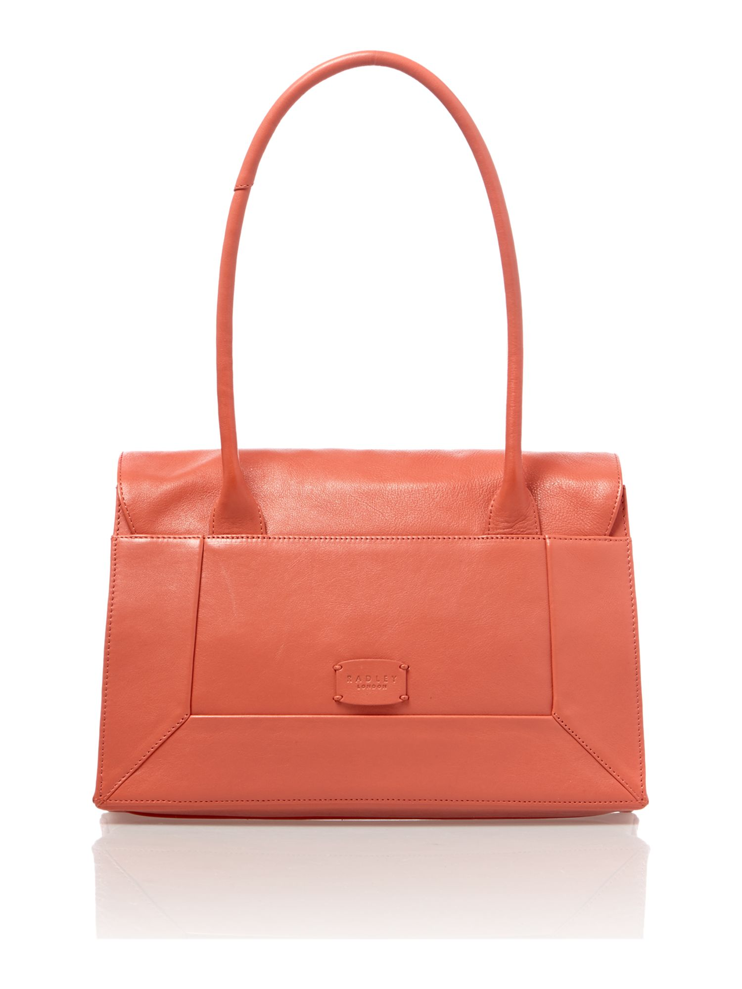 Border medium coral flapover tote leather bag