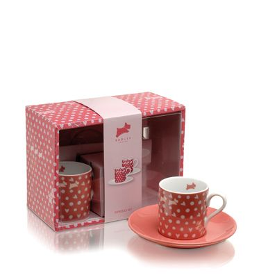 Pink Hibbert duo espresso cup and saucer set