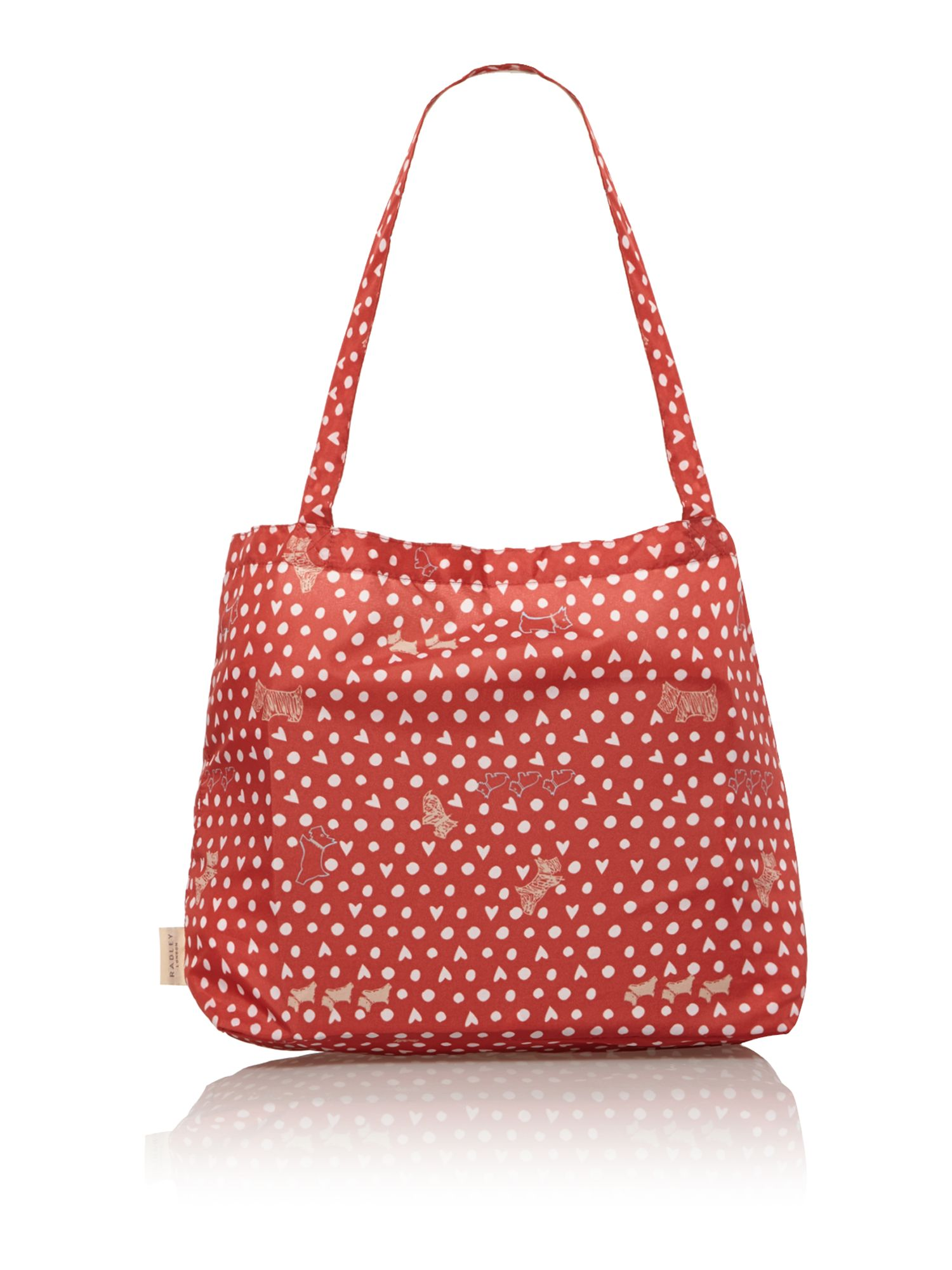 Medium pink foldaway tote bag