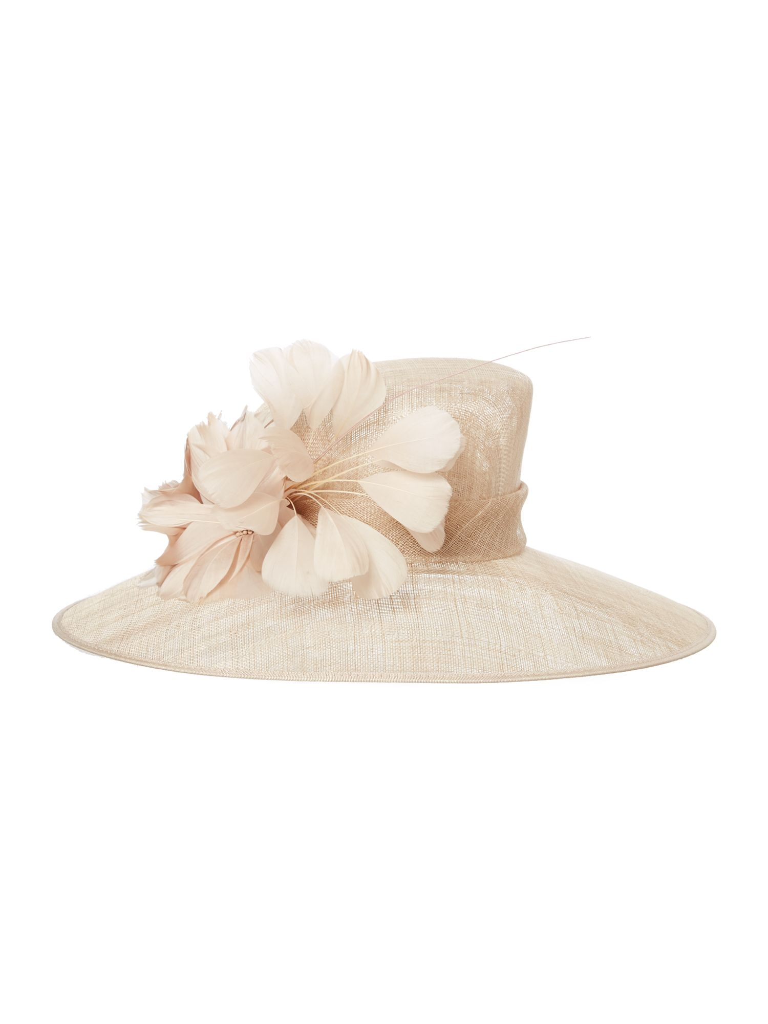 Epsom feather trim mid brim hat