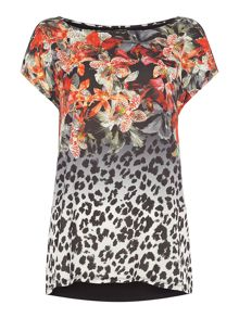 Tropical leopard woven front tee