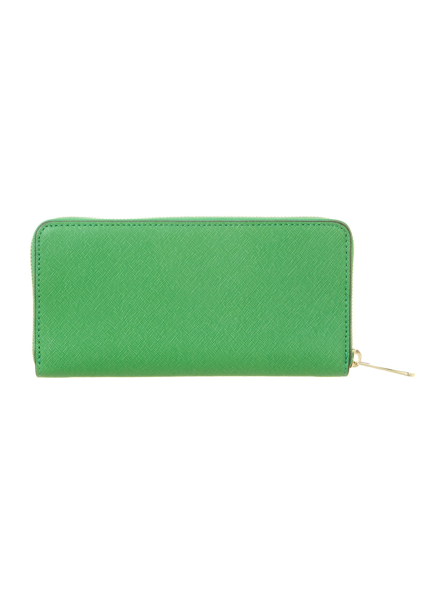 Jet set saffiano large green zip around purse
