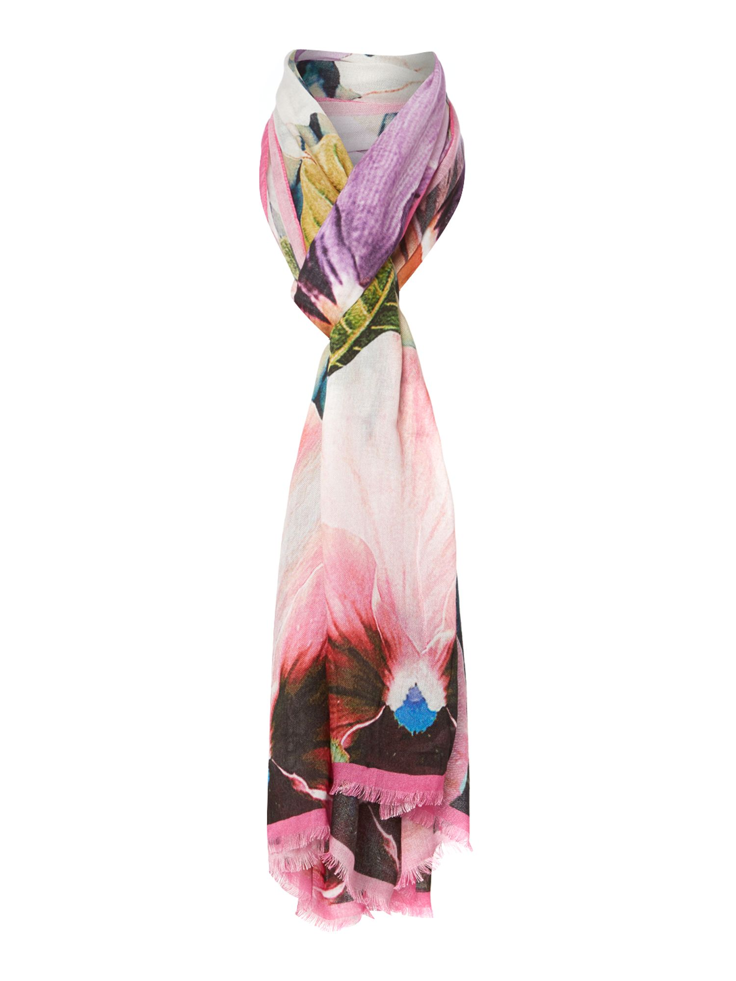 Tangled floral long scarf
