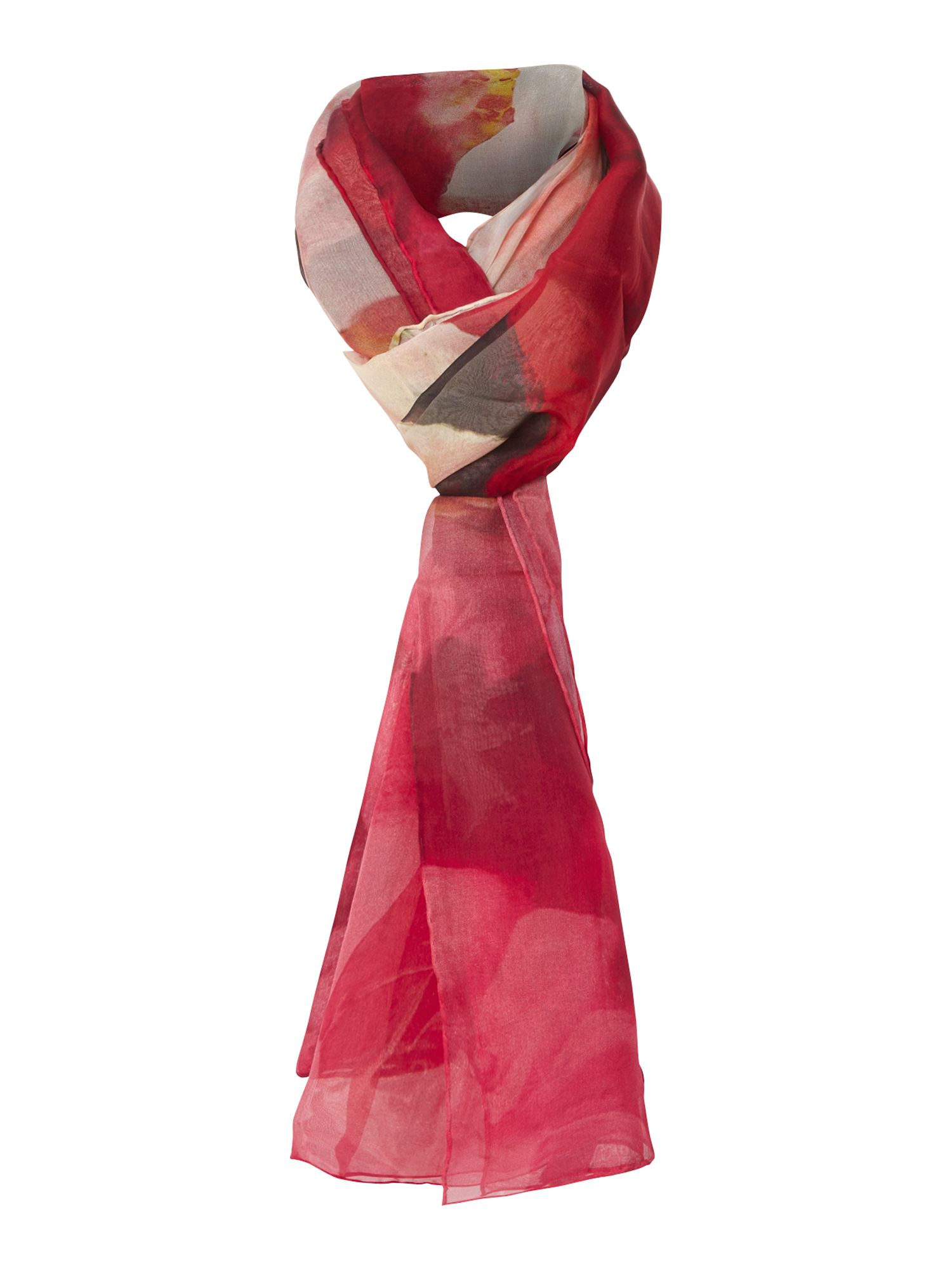 Rose on canvas silk long scarf