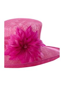 Windsor feather two-tone oval mid brim hat