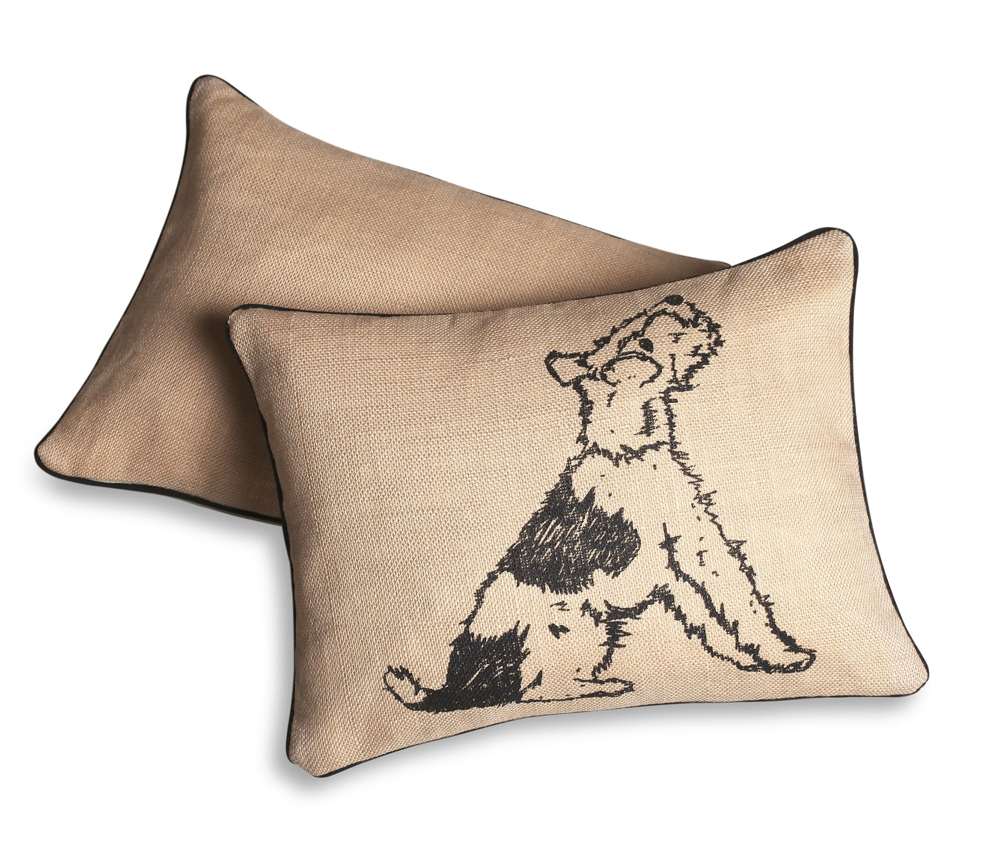 Dog print jute cushion