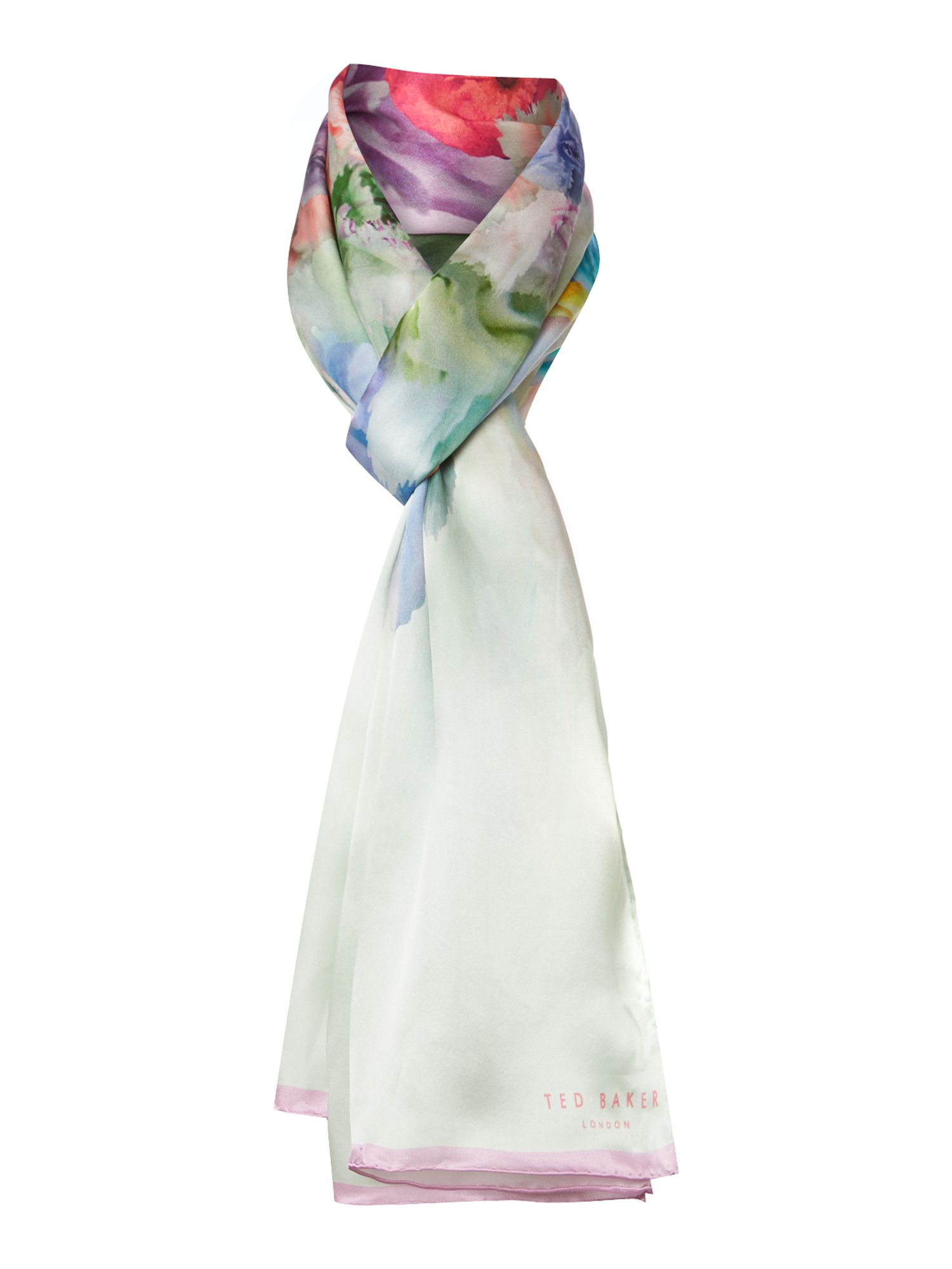 Sugar sweet floral long silk scarf
