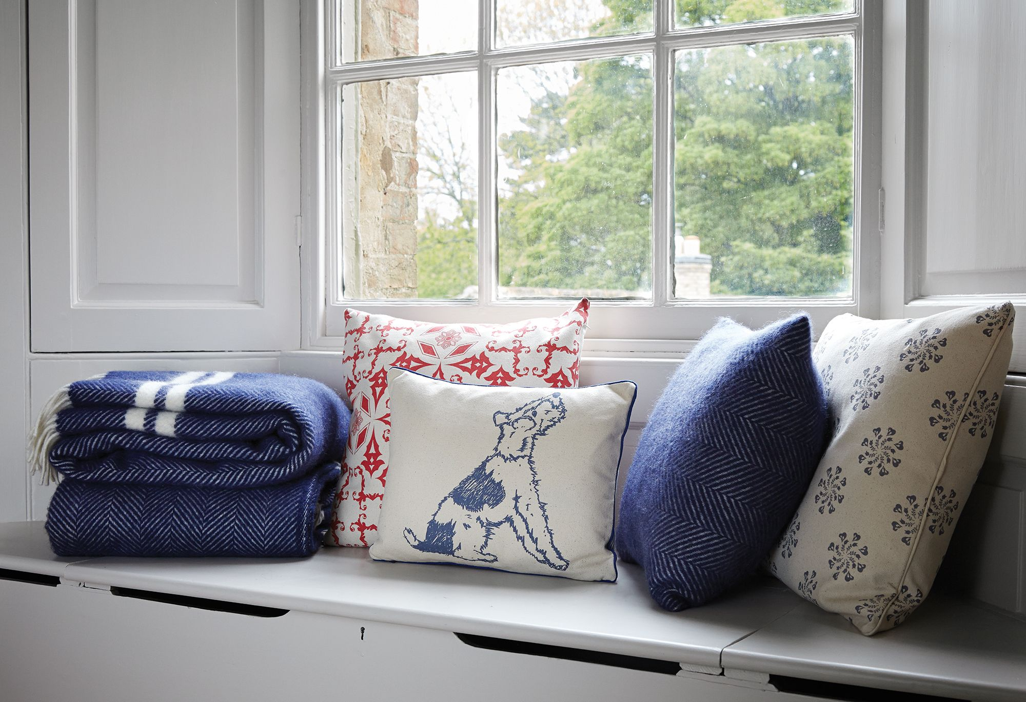 Dog print ticking cushion