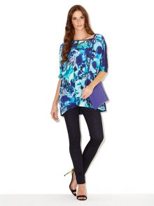 Orchid print silk mix tee