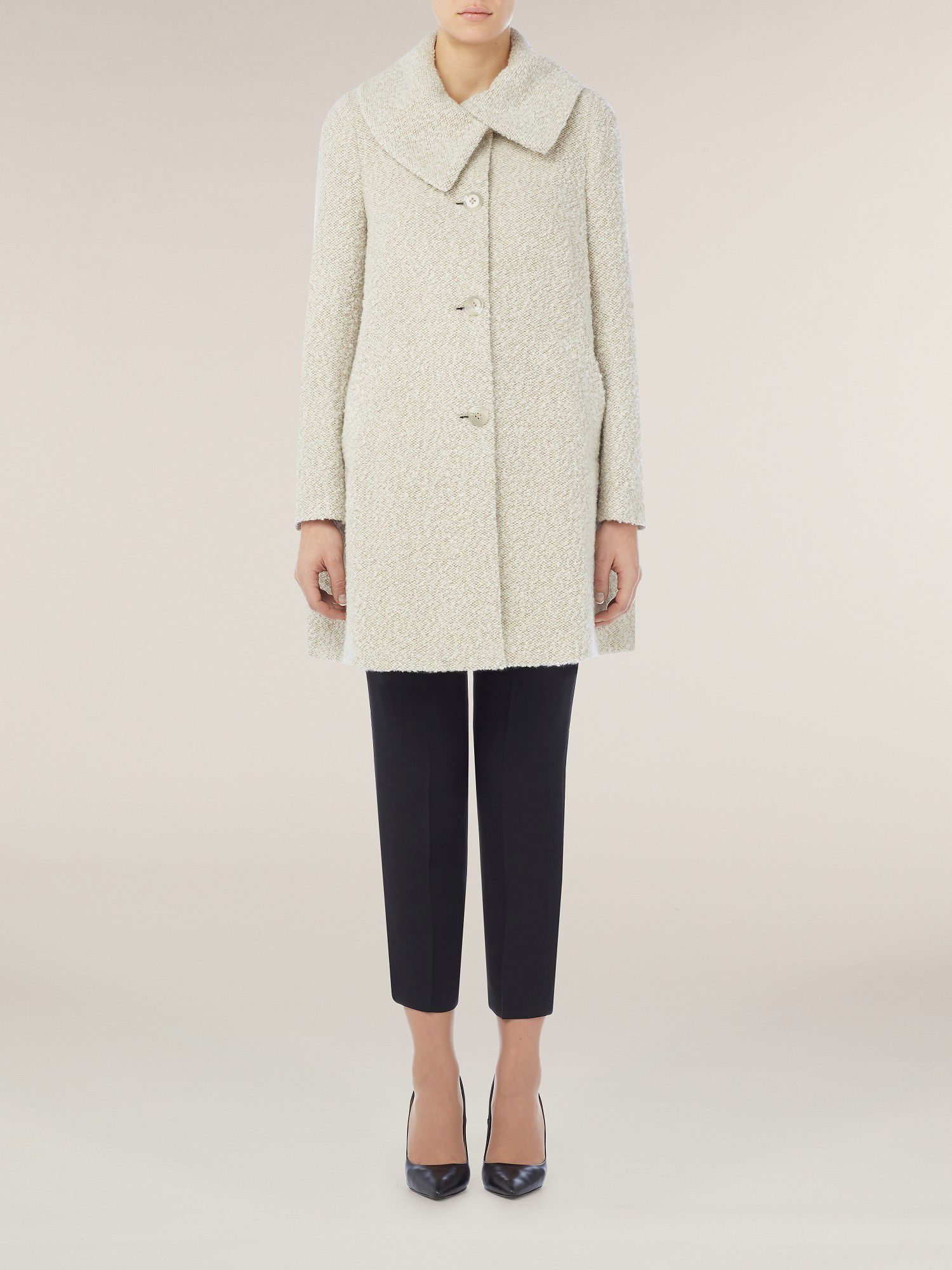 Oatmeal boucle swing coat