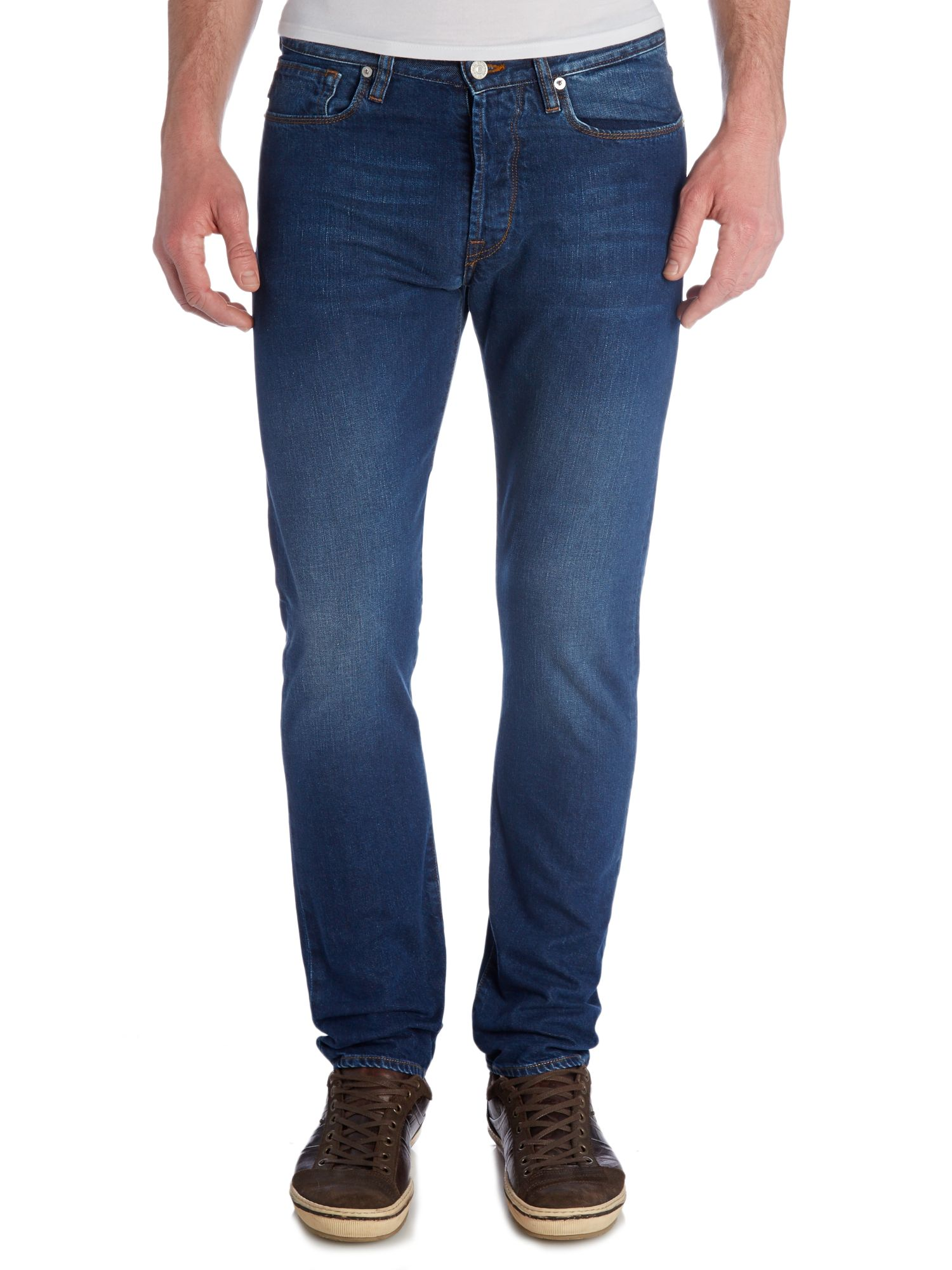 Mid wash tapered jean