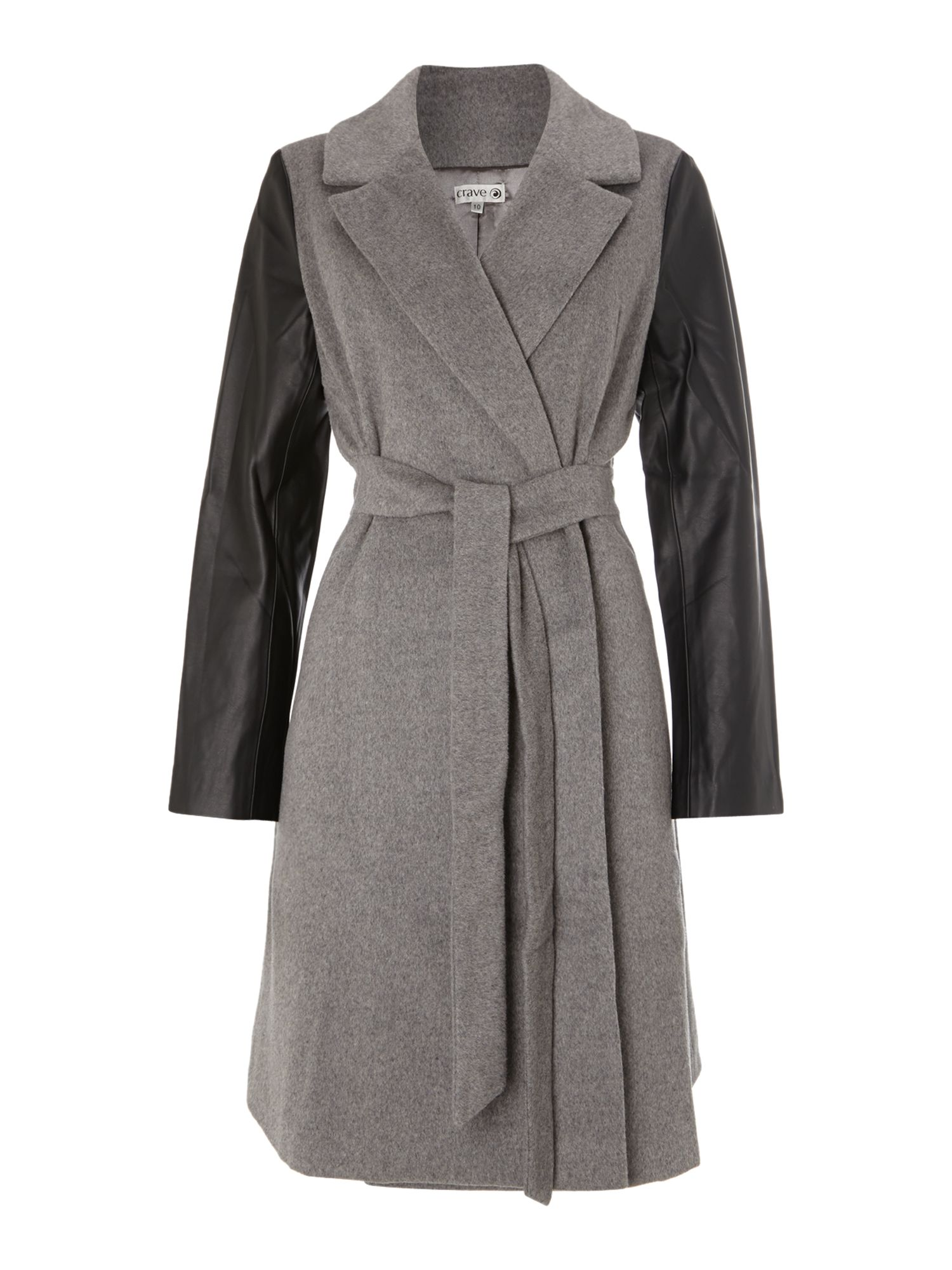 Contrast sleeve wrap maternity coat