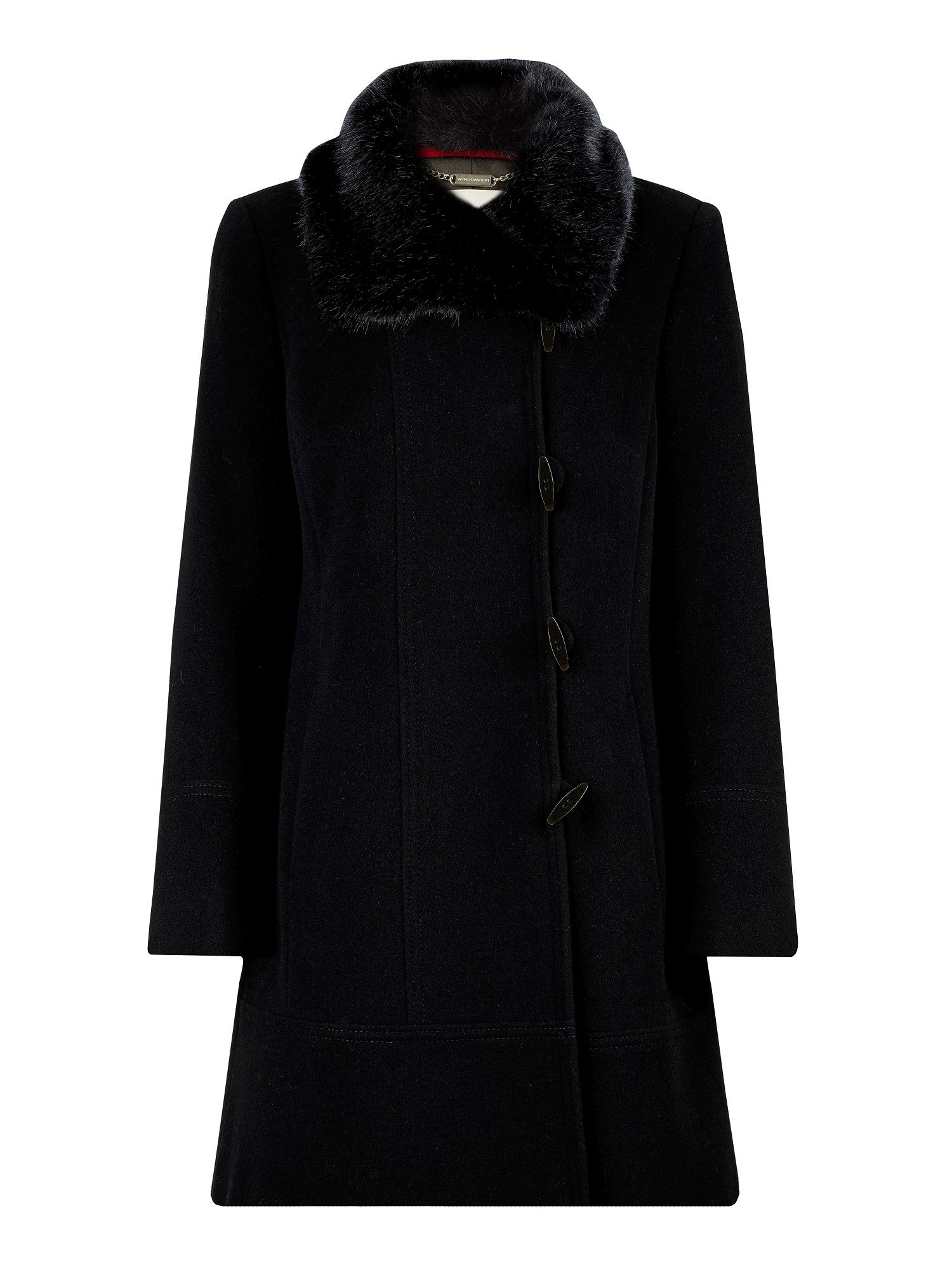 Mid-length coat with faux fur collar