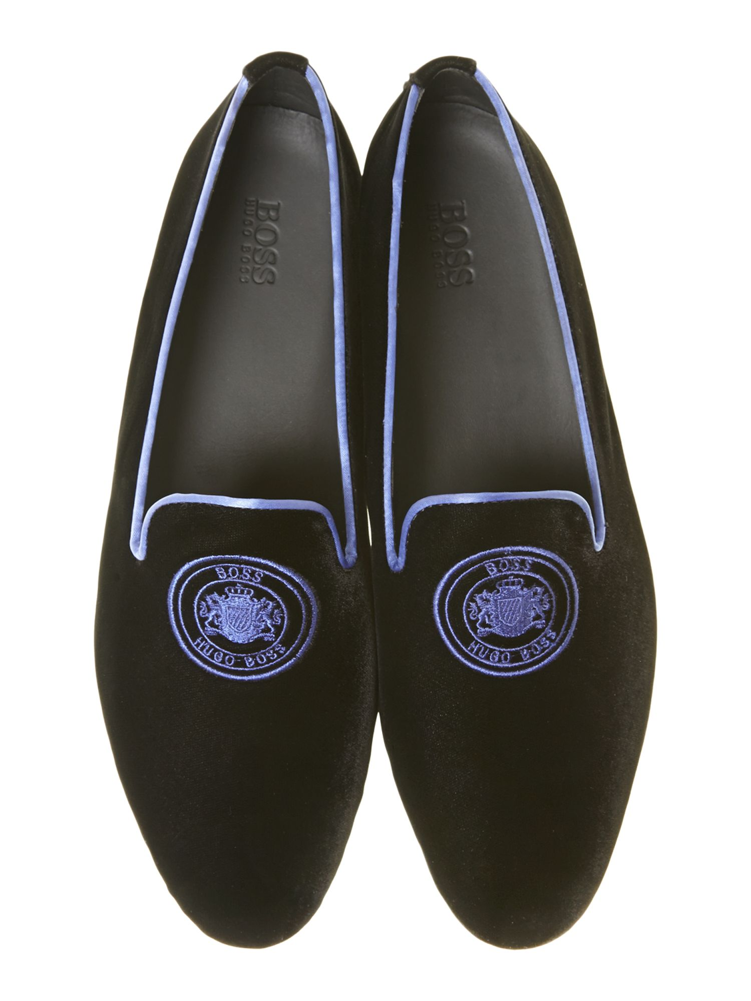 Logo velvet smoking slipper