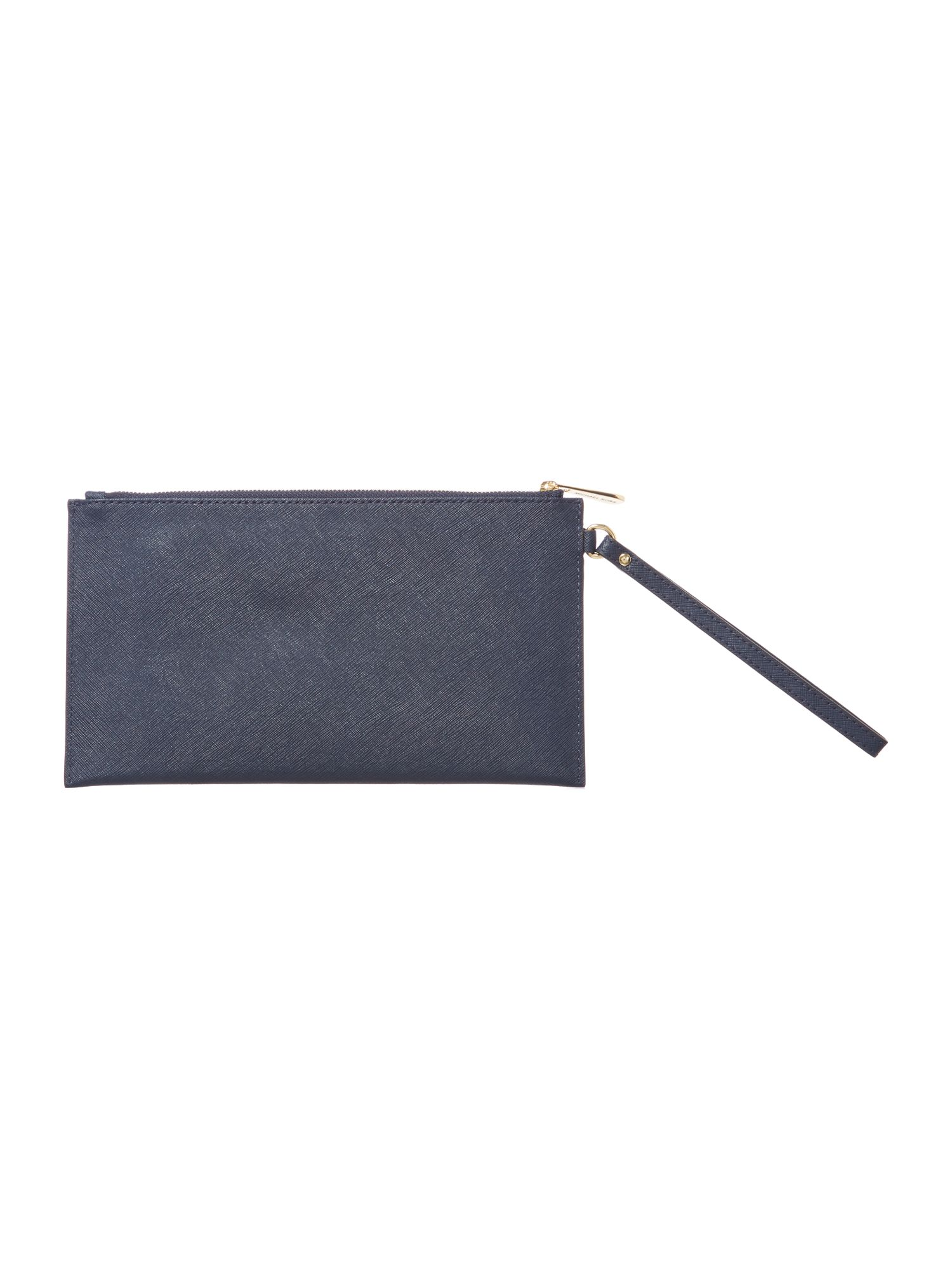 Saffiano navy zip top clutch bag