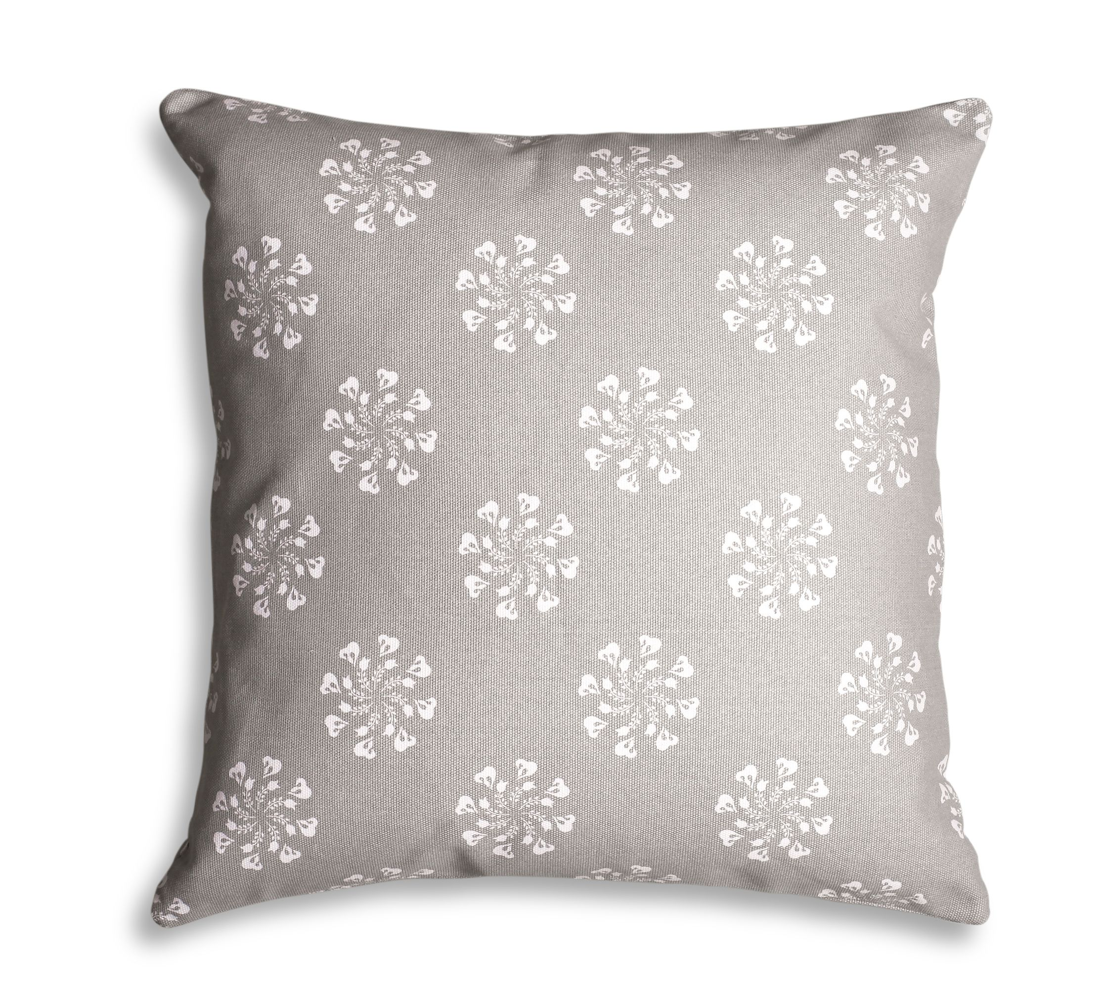 Grey flower print cushion