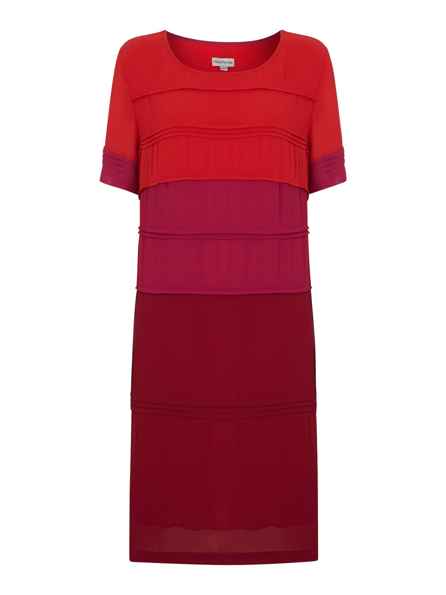 Colour block pin tuck shift dress