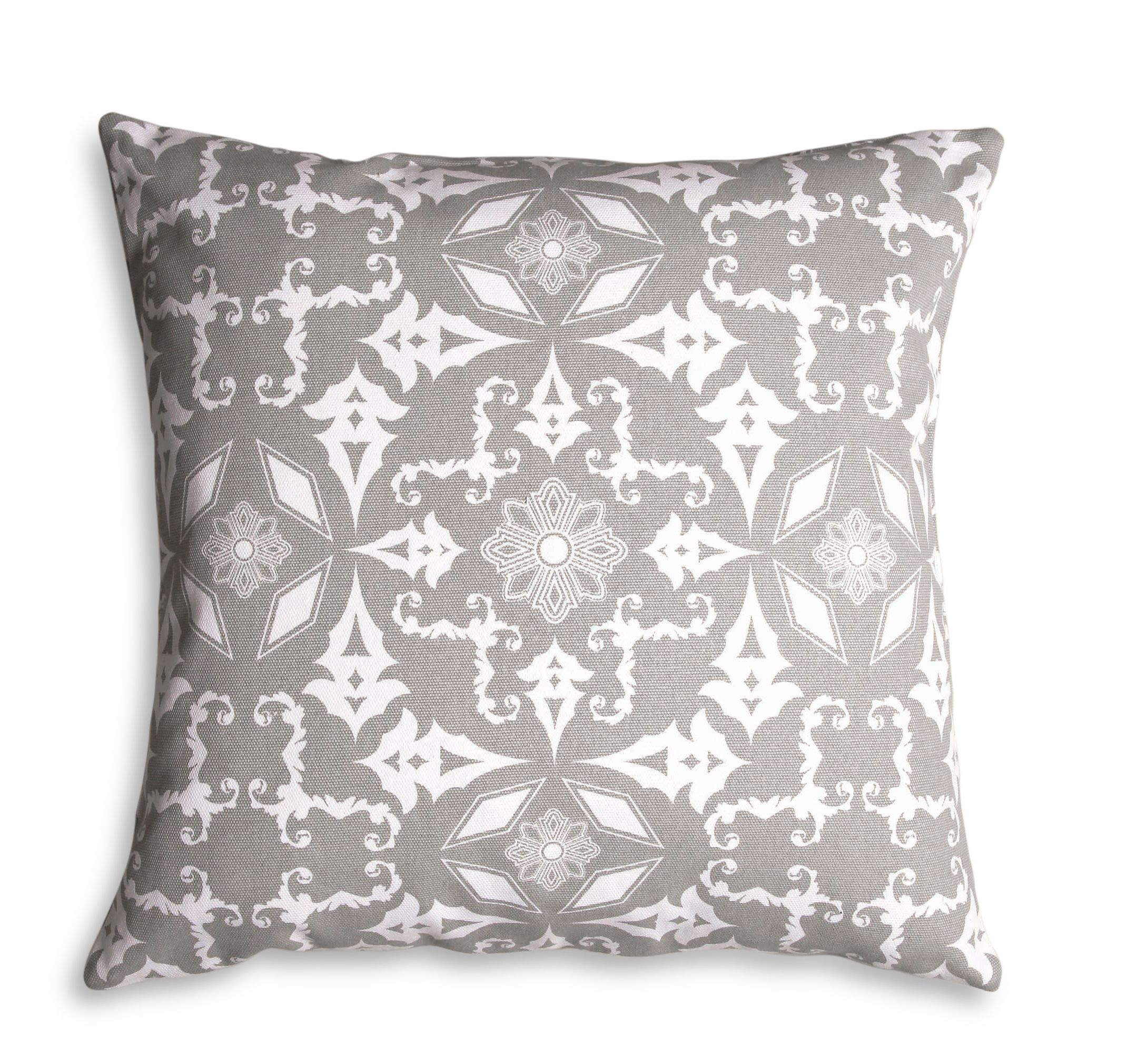 Grey tile print cushion