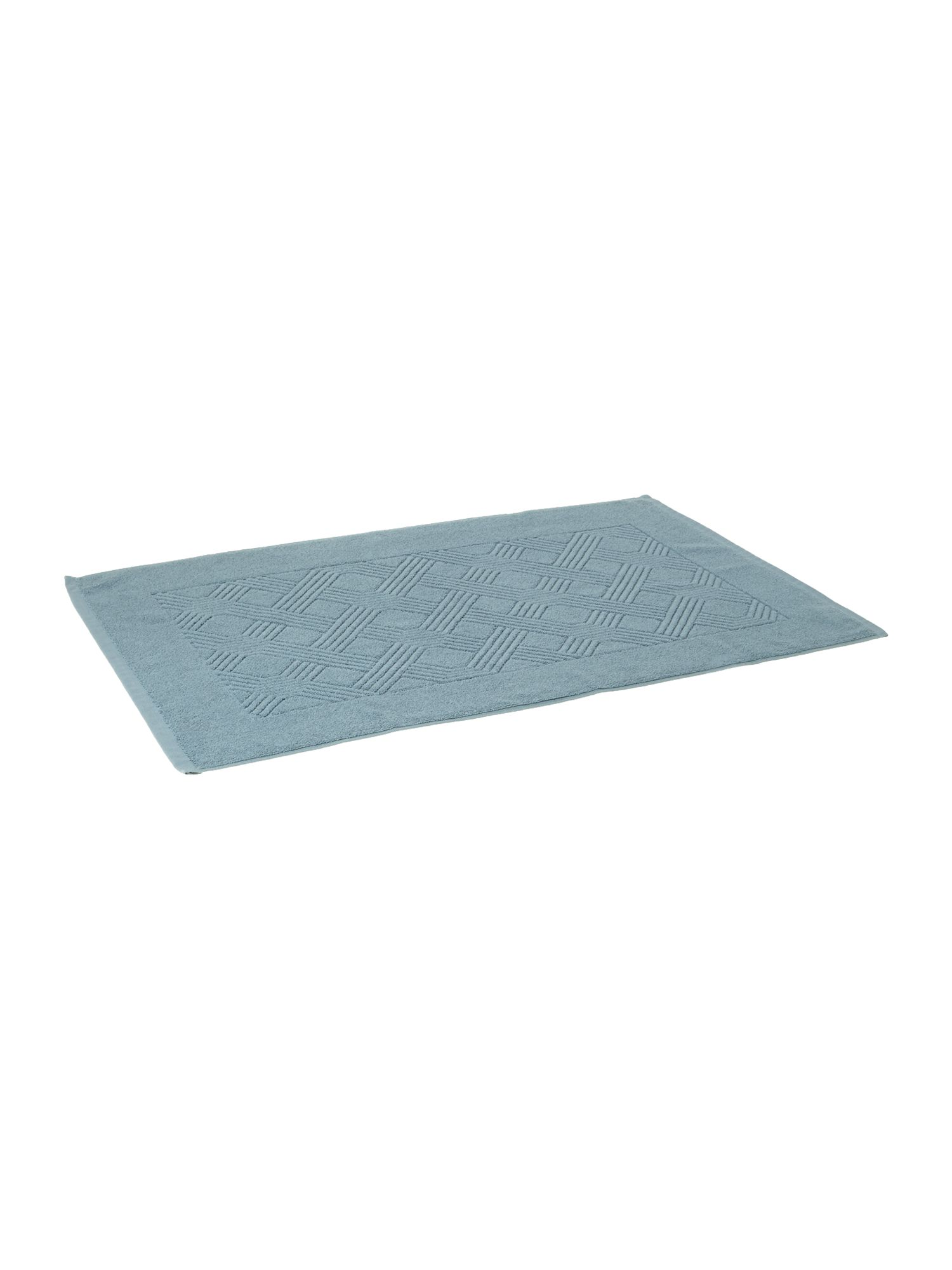 Geometric jaquard bath mat in blue