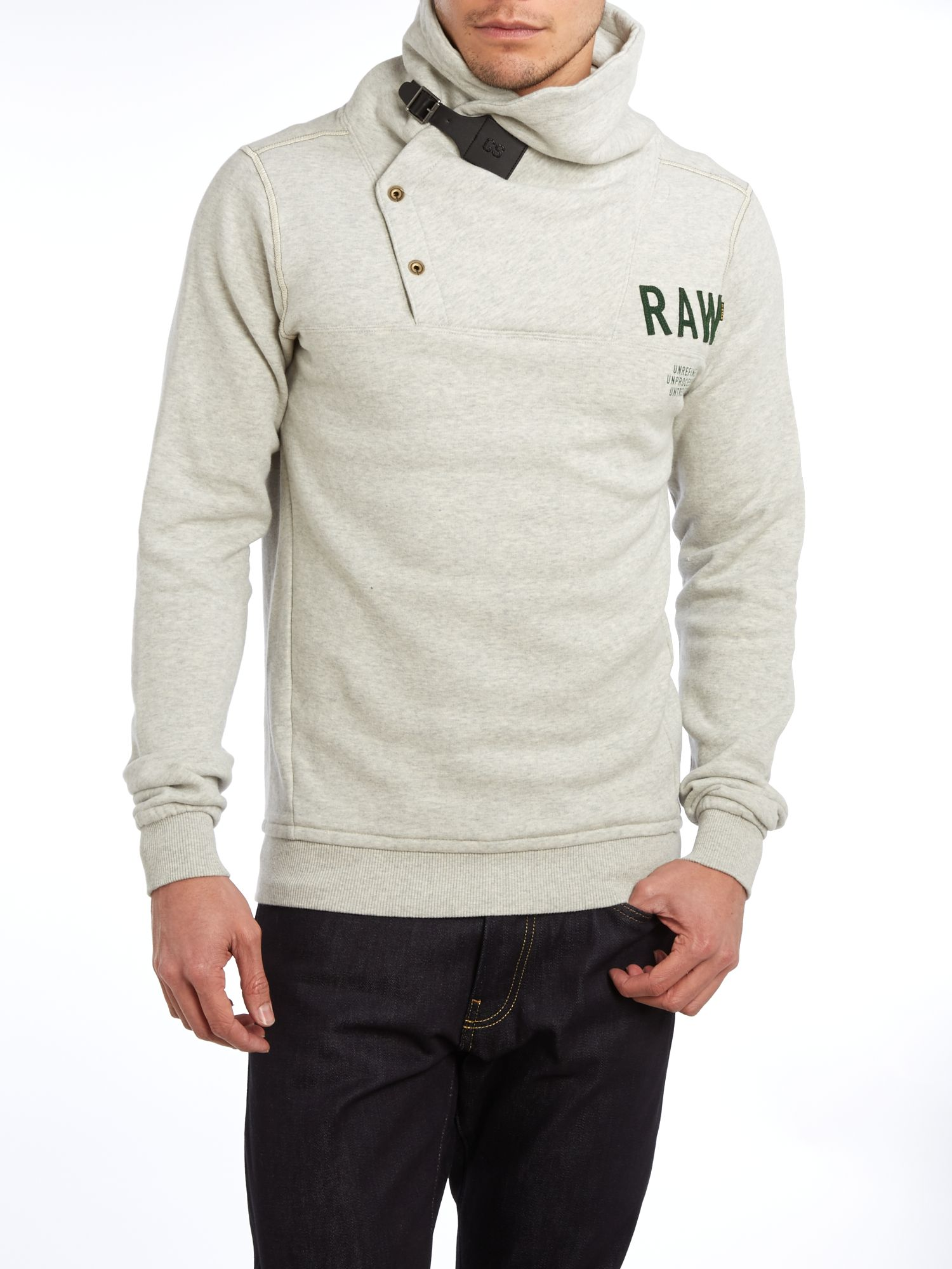 Roll neck button up sweatshirt