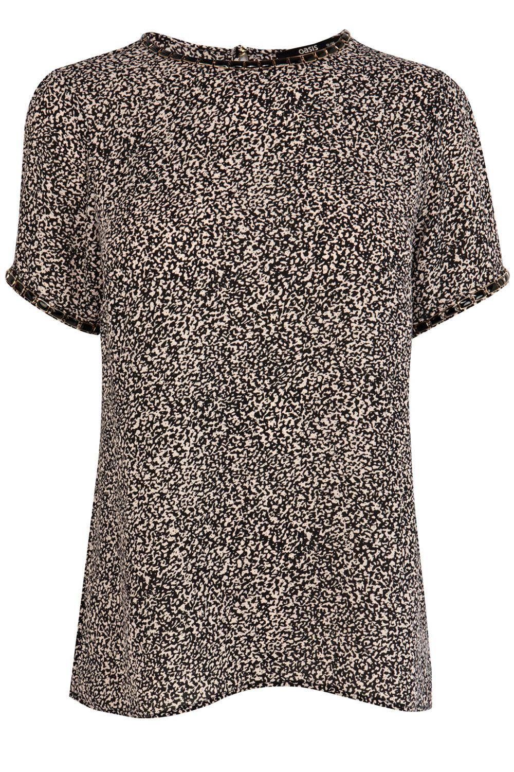 Animal embellished neck tee