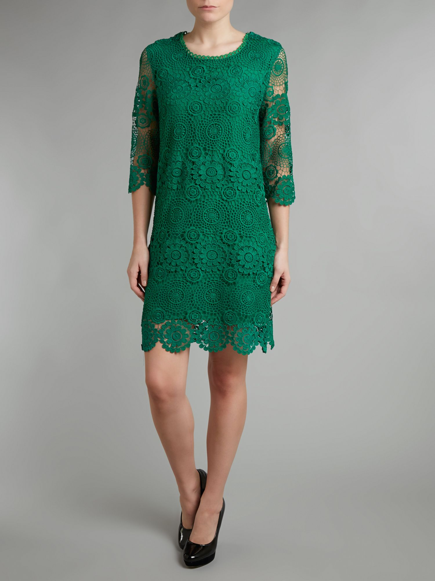 Crocheted cotton-lace dress