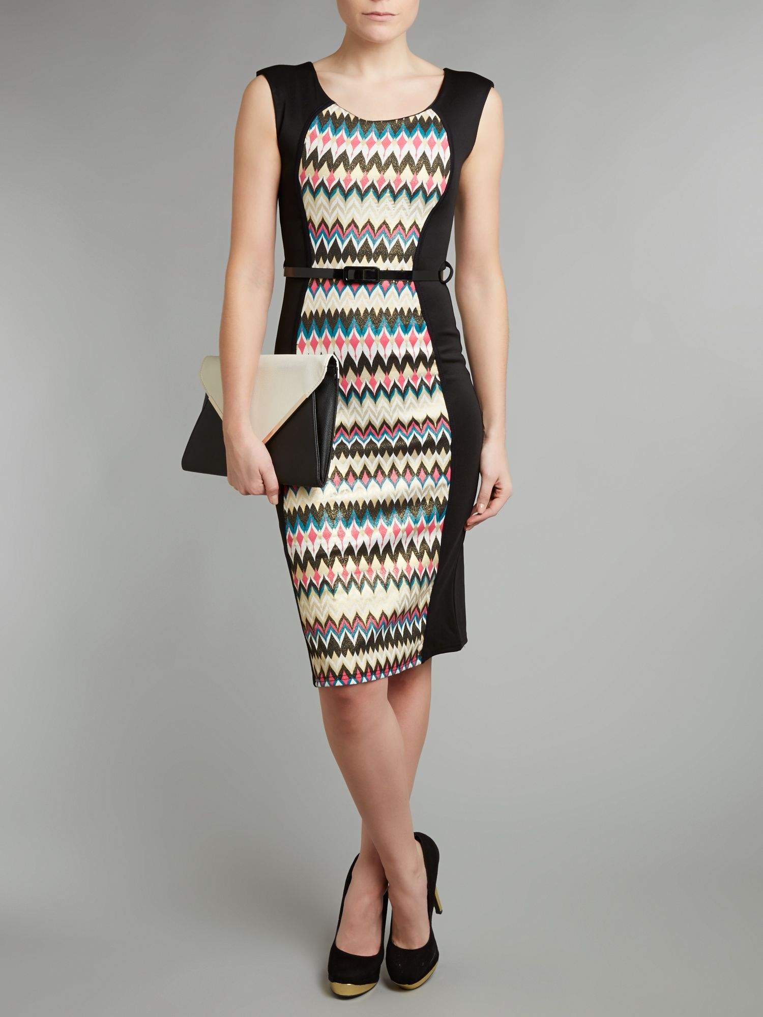 Pattern belted dress