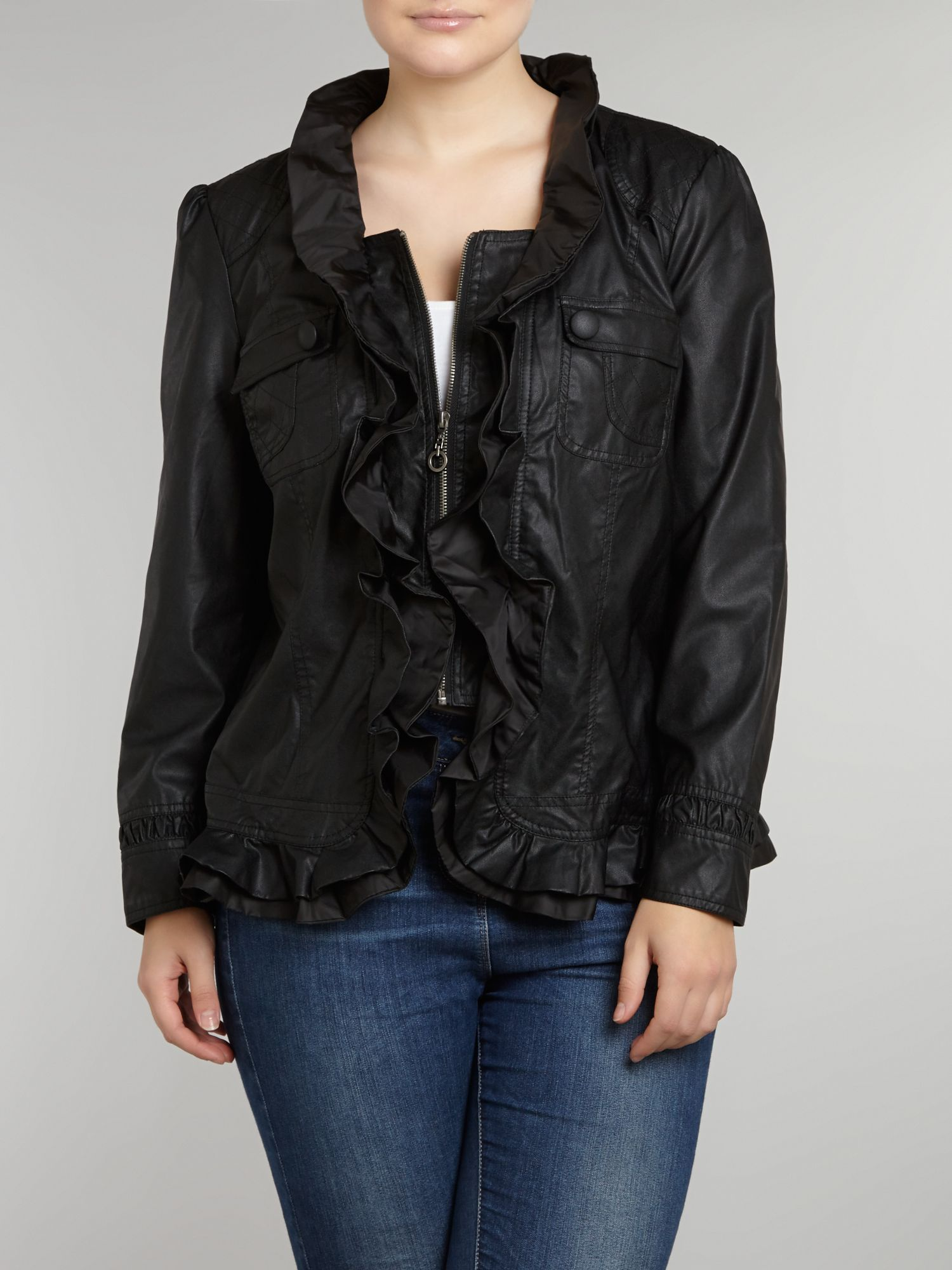 Double ruffle faux leather jacket