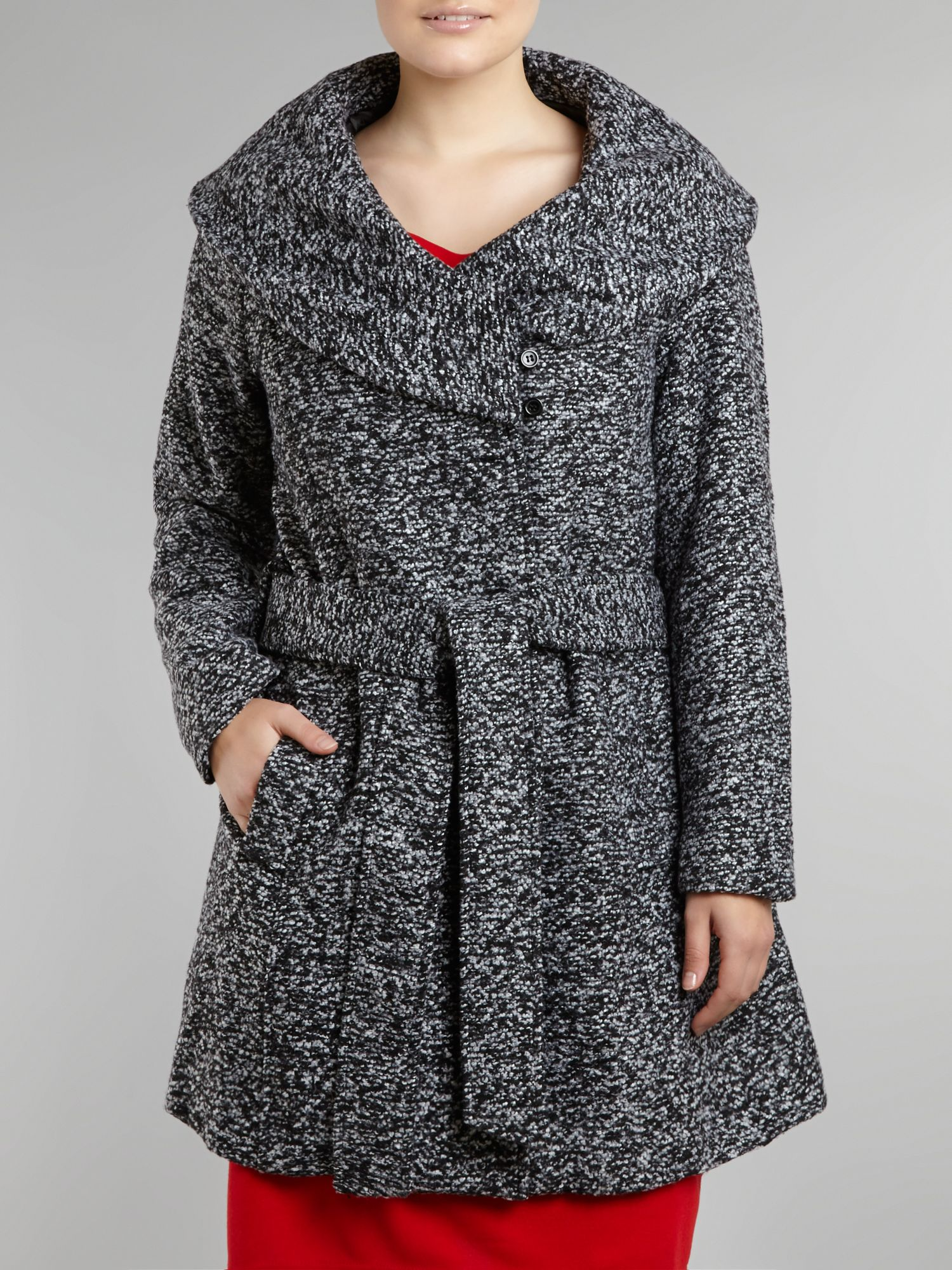 Wrap collar boucle belted coat