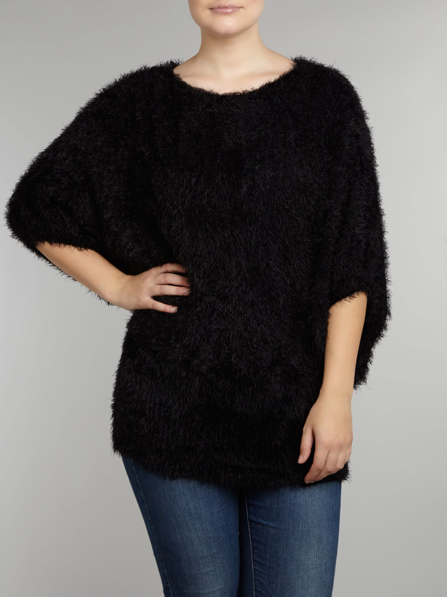 Batwing faux fur jumper