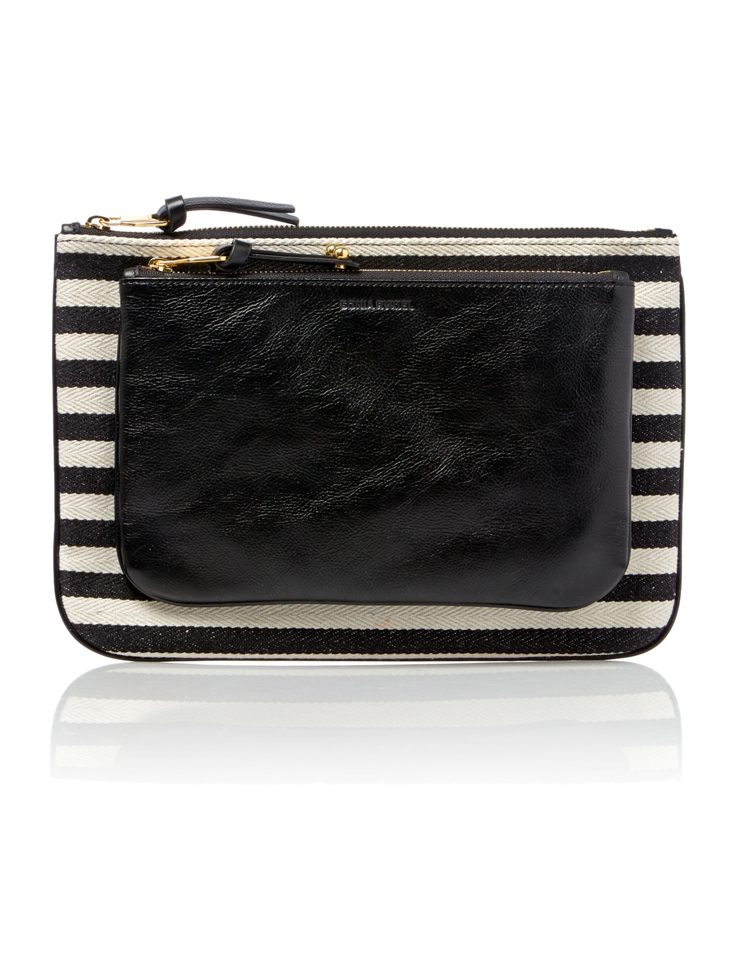 Dauphine multi-coloured stripe clutch bag