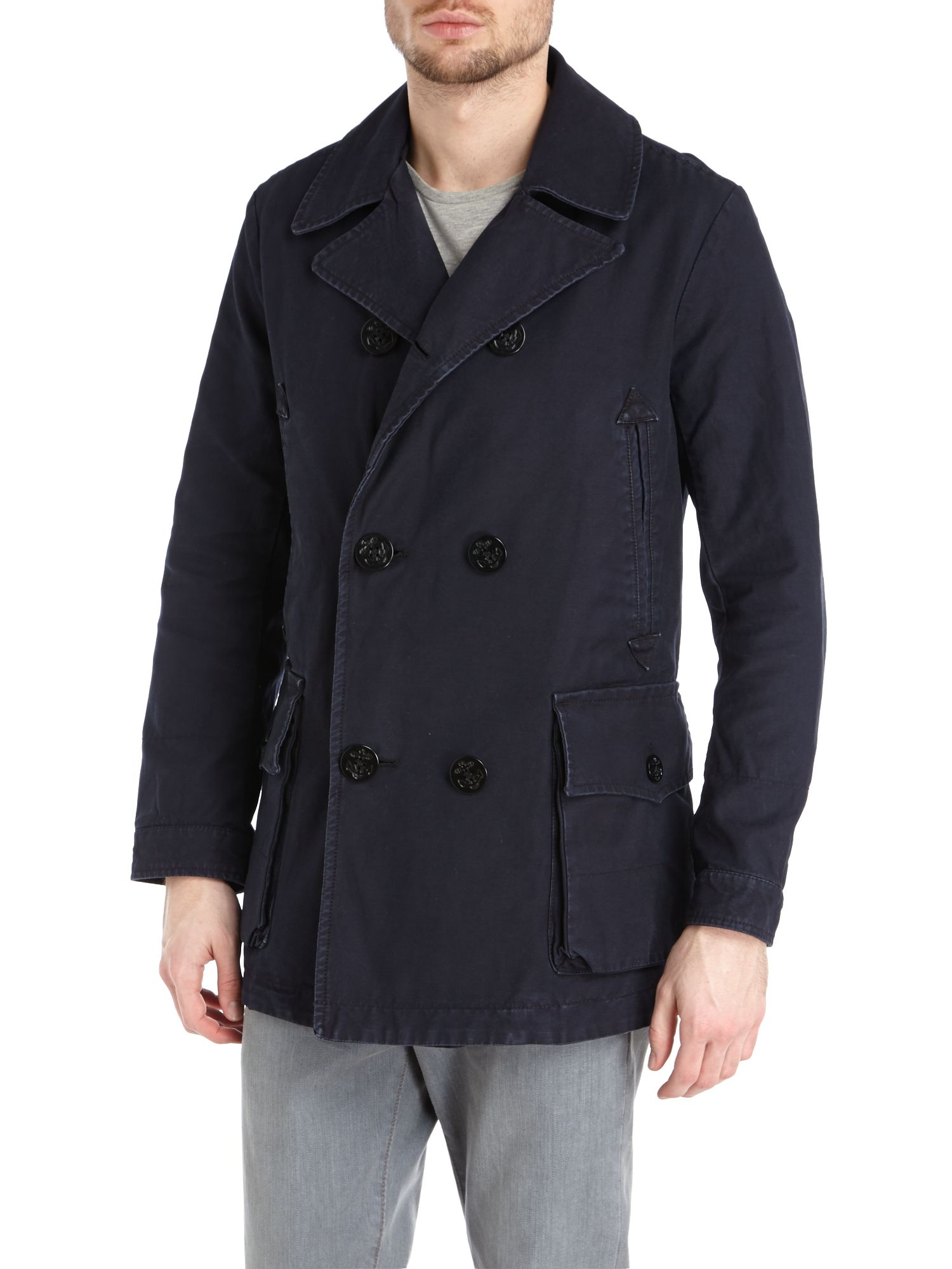 Double breasted four pocket peacoat