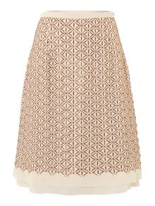 Fatuo embroidered silk lurex pencil skirt