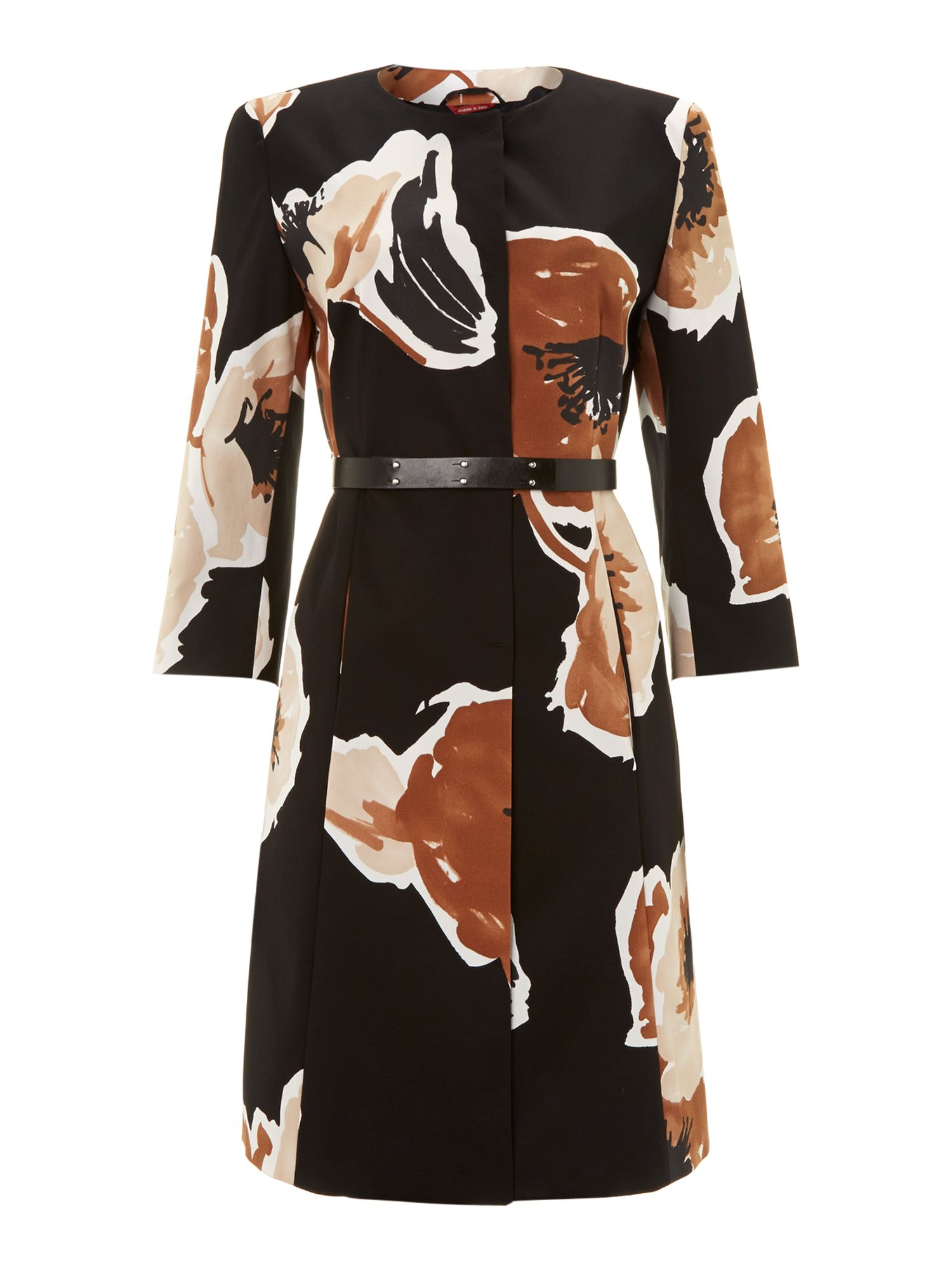 Giunto long sleeved floral print dress coat
