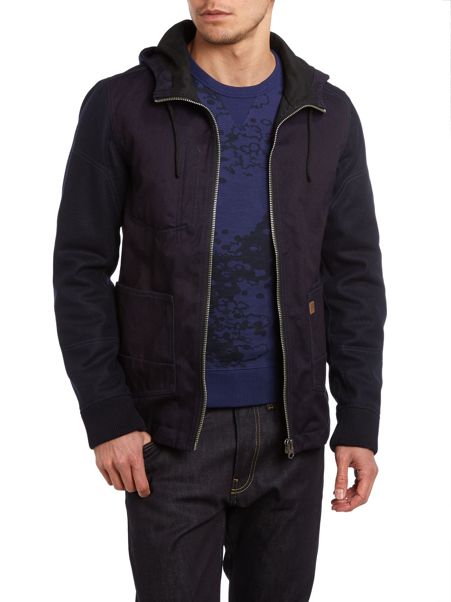 Utility technical hooded jacket