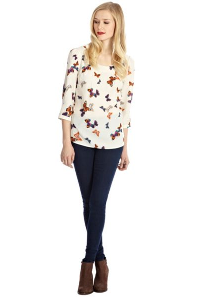 Oasis Butterfly tuck neck top