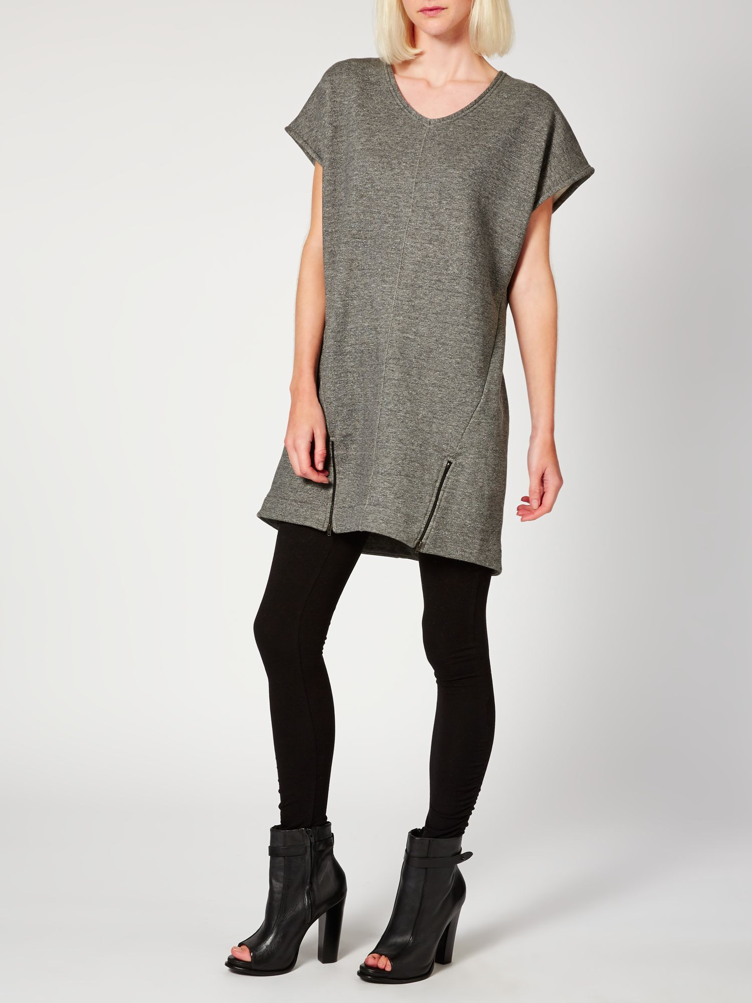 Zip detail sweat dress