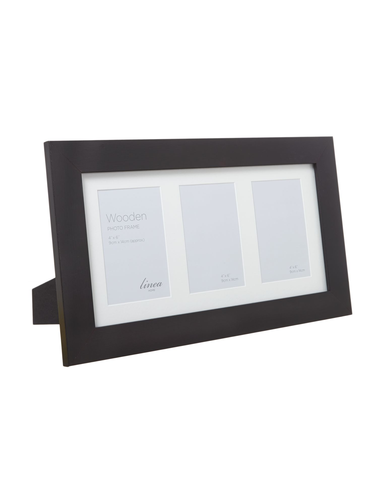 Black Wood Triple Aperture Photo Frame