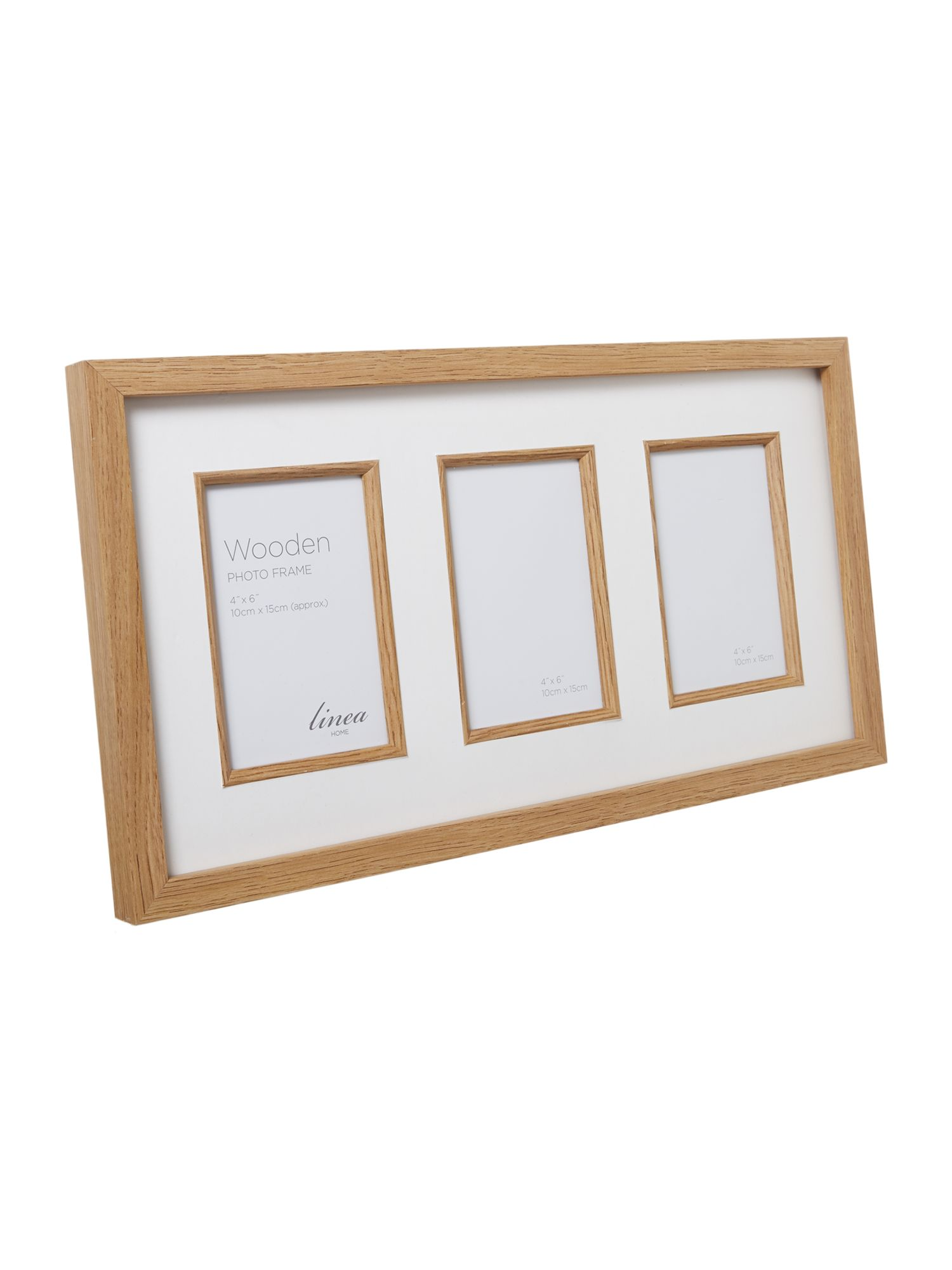 Pale wood triple aperture photo frame