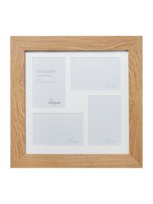 Pale wood 4 aperture photo frame