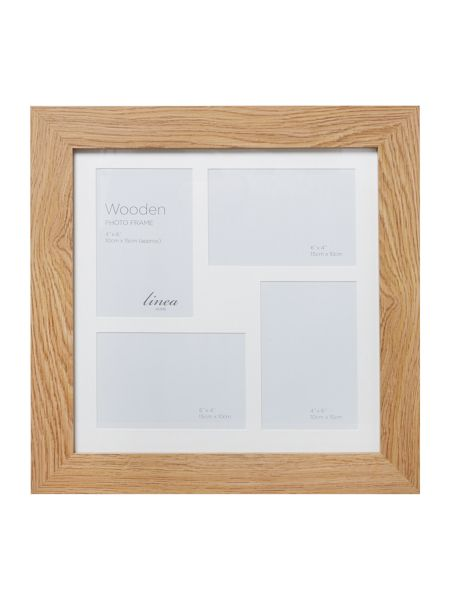 Linea Pale wood 4 aperture photo frame
