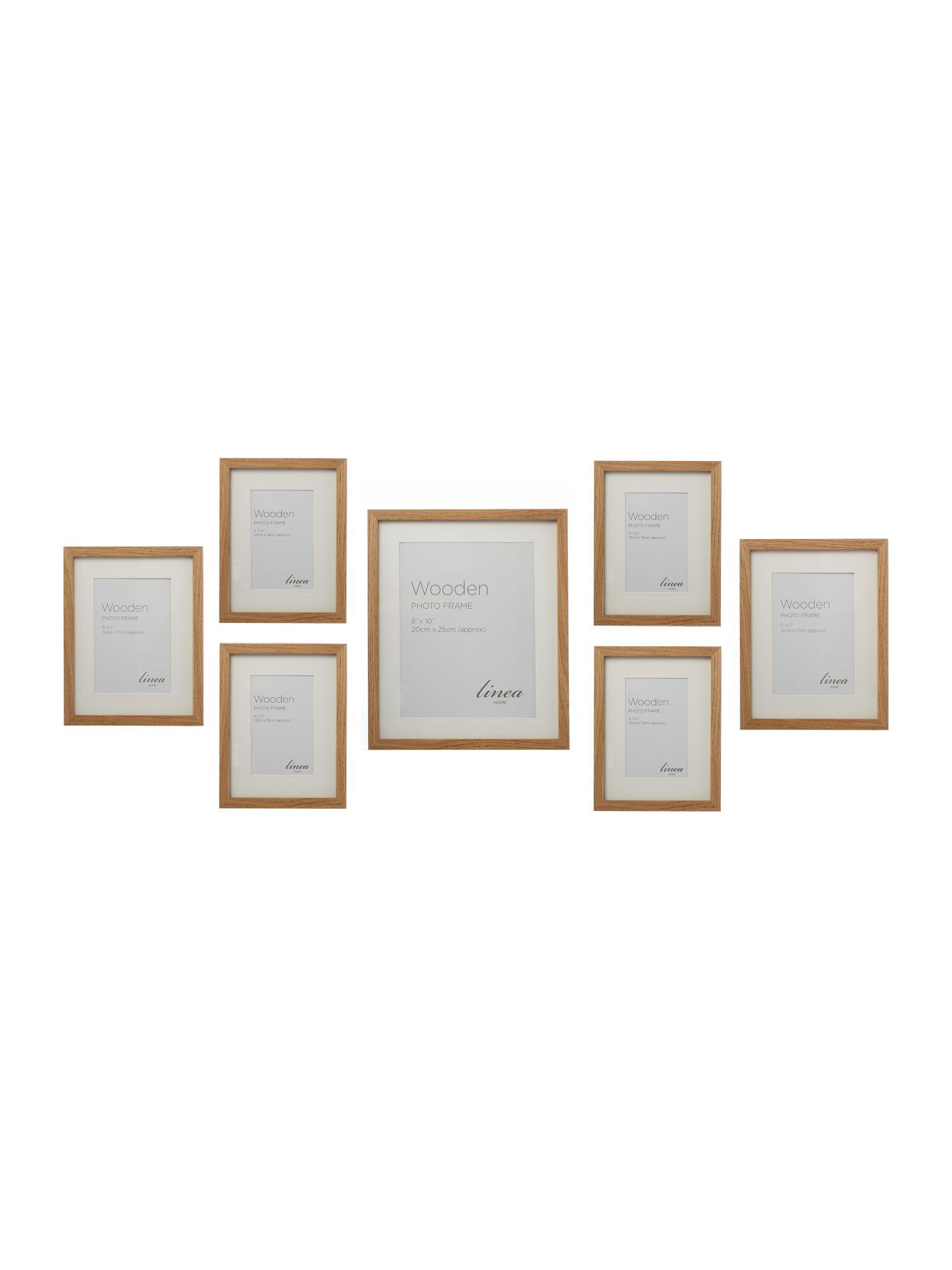 Pale wood 7 piece gallery frame set
