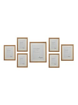 Pale wooden effect 7 piece gallery frame set