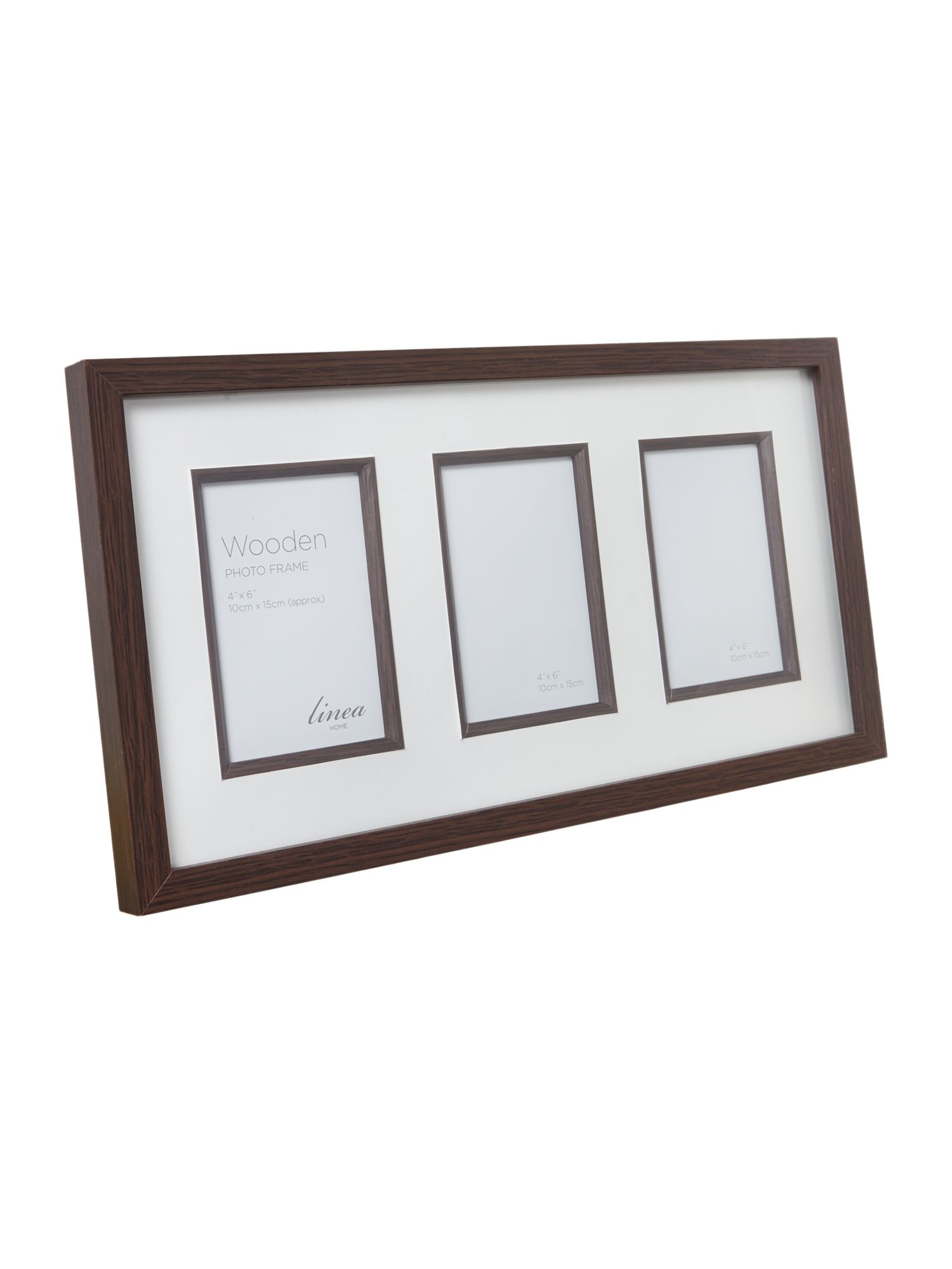 Dark Wood Triple Aperture Photo Frame