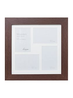 Dark wood 4 aperture photo frame