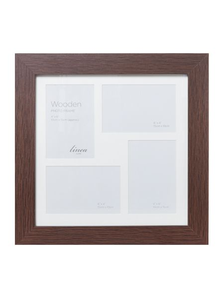 Linea Dark wood 4 aperture photo frame