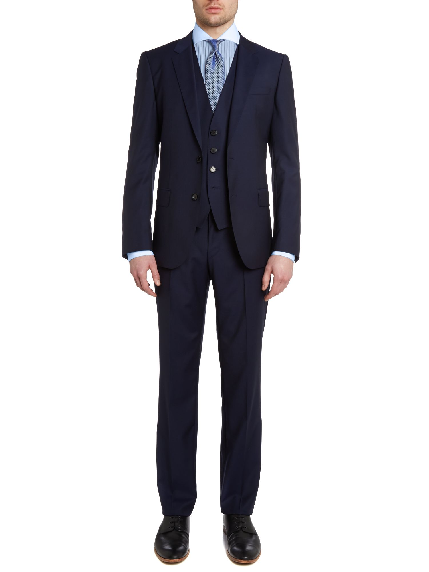 Huge/Genius three piece solid slim fit suit