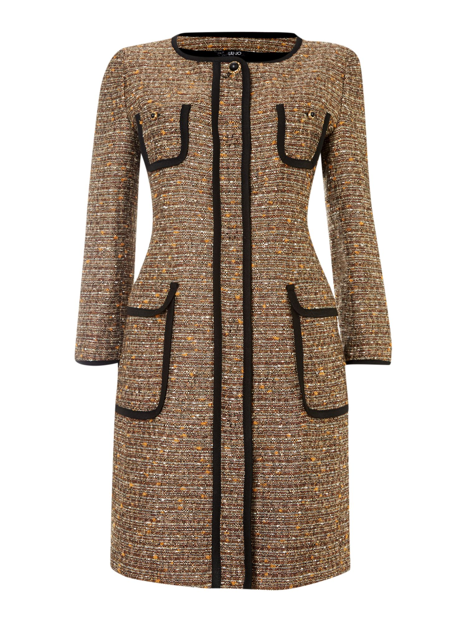 Long sleeved boucle piped pocket coat
