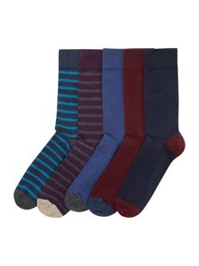 5 Pack Stripe And Plain Socks